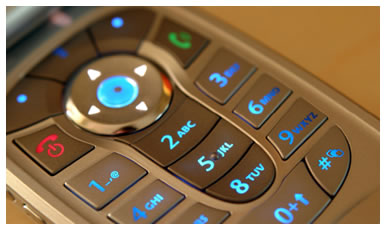 Photograph close up of mobile phone keypad