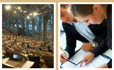 Photo montage of the interior of the Scottish Parliament debating chamber and stock image of business discussion