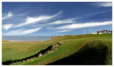 Photograph of the first and fourteenth fairways at Crail Golfing Society's Balcomie course