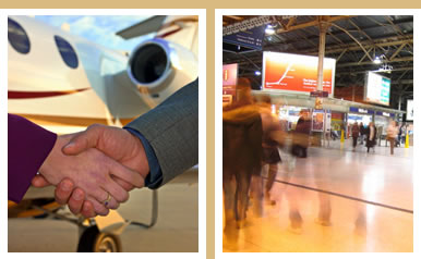 Photo montage of handshake in front of private jet and night-time view of Edinburgh's Waverley Station concourse