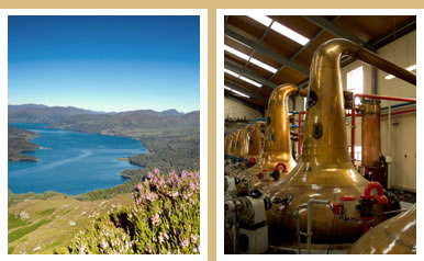 Photo montage of a Scottish whisky distillery and a Scottish landscape